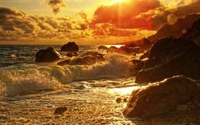 Обои море, побережье, прибой, камни, закат
