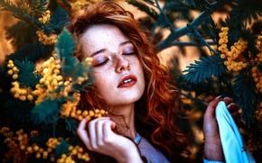 Картинка девушка, веснушки, цветочки, Ronny Garcia