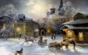 Картинка собака, зима. дома, свет, снег, церковь, живопись, лошади, окна, небо, овчарка