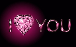 Картинка розовый, сердце, стразы, i love you