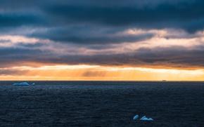 Картинка storm, sea, seascape, horizon, sunlight, icebergs