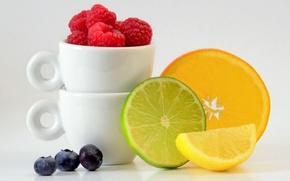 Картинка ягоды, малина, лимон, апельсин, чашки, лайм, фрукты, цитрусы, дольки, голубика