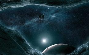 Картинка небо, звезды, свет, ночь, Планета