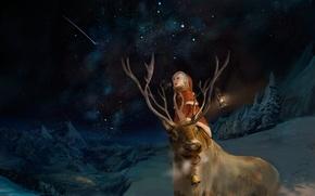 Обои мальчик, арт, зима, звездное небо, олень, эмоции, ночь, фонарь, костюм