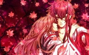 Картинка листья, девушка, аниме, демон, арт, когти, рога, парень, Hiiro no Kakera, Takuma Onizaki, алые осколки, …