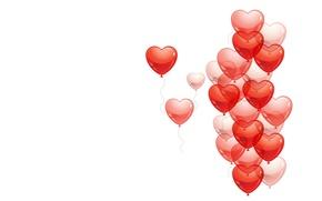Картинка шарики, фон, праздник, сердце, минимализм, арт