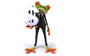 Картинка графика, лягушка, доллар, костюм, бизнес, free frog