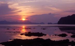 Картинка море, пейзаж, природа, берег, лодка, вечер, отлив