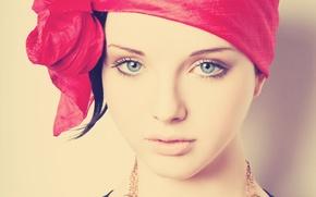 Картинка глаза, взгляд, девушка, красный, лицо, милая, головной убор