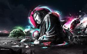 Картинка дерево, Абстракция, будда