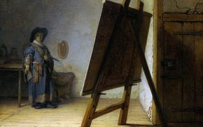 Картинка картина, автопортрет, Рембрандт ван Рейн, Художник в Своей Студии