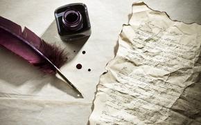 Обои письмо, перо, стол, чернила