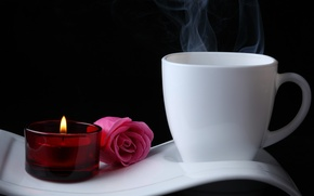 Картинка цветы, кофе, свеча, Роуз