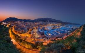 Картинка горы, город, огни, бухта, вечер, Monaco, Monte-Carlo, the Port Hercule, Fever, the Principality