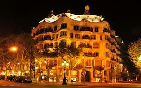 Обои Испания, дома, город, улица, Барселона, ночь, фото, фонари