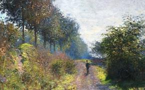 Обои пейзаж, дорога, путник, The Sheltered Path, картина, Клод Моне
