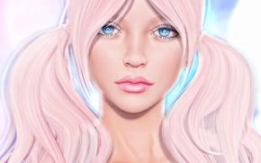 Обои волосы, косы, лицо, губы, девушка, глаза