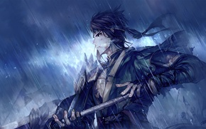 Обои оружие, дождь, аниме, арт, повязка, парень, danhu