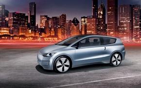 Обои Volkswagen, Up! Lite, ночной город, концепт