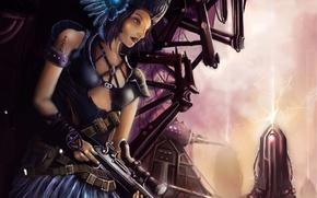 Обои оружие, девушка, город, арт, шлем