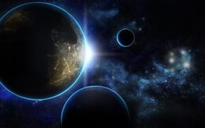 Картинка солнце, восход, планеты, звёзды