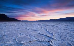 Картинка небо, закат, озеро, пустыня, сухое