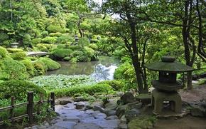 Картинка зелень, трава, деревья, пруд, камни, сад, дорожка, мостик, кусты