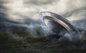 Картинка spaceship, UFO, alien intelligence, plane crash