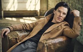 Обои фотосессия, сидит, в кресле, 2016, Benedict Cumberbatch, Бенедикт Камбербэтч, джемпер, актер, Jason Bell, брюки, Vanity ...