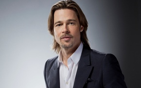 Картинка актер, мужчина, Брэд Питт, Brad Pitt, серый фон, продюсер