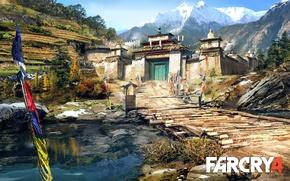 Картинка деревья, пейзаж, горы, мост, река, картина, дворец, Far Cry 4, Кират