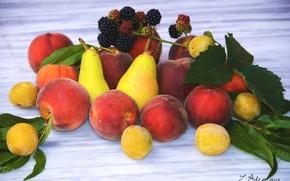 Картинка фрукты, персики, груши, ежевика, алыча