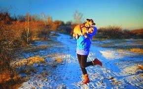 Картинка girl, road, dog, winter, snow, sunlight