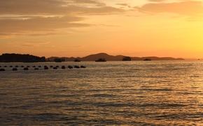 Картинка море, закат, корабли