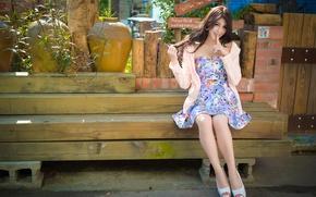 Картинка лето, девушка, азиатка, скамья