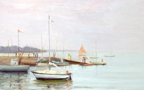 Картинка картина, лодка, яхта, горы, море, Марсель Диф, Afternoon on the Quay, морской пейзаж