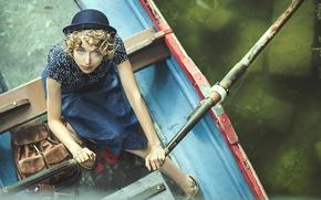 Картинка взгляд, девушка, лодка