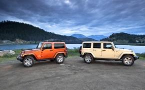 Обои пейзаж, красивый, горы, Jeep-Wrangler-2011, внедорожники, облака