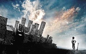 Картинка небо, облака, город, стиль, ребенок, арт, лопата, мегаполис