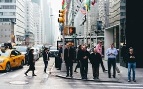 Картинка United States, New York, people, streets, skyscrapers, cityscape, traffic lights, urban scene, crosswalks