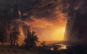 Обои картина, горы, Альберт Бирштадт, пейзаж, скалы, Закат в Долине Йосемити, облака