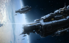 Картинка космос, планета, корабли, атмосфера, арт, армада