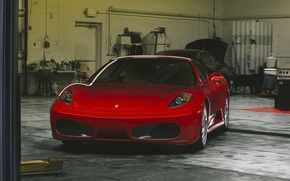Картинка red, ferrari, f430, garage