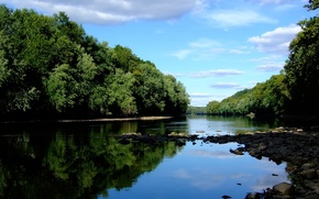 Картинка лес, камни, Река