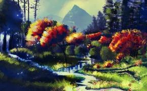 Картинка осень, деревья, река, арт, нарисованный пейзаж