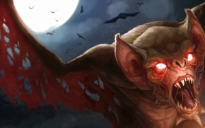 Картинка луна, вампир, Летучая мышь