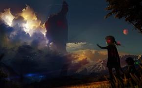 Картинка гроза, небо, девочка, гигант