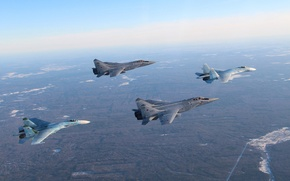 Картинка истребители, Flanker, Су-27, МиГ-31, парами
