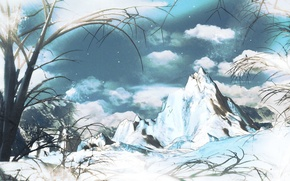 Картинка небо, снег, деревья, Горы, xwst, Cirno's mountain