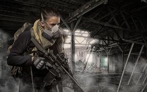 Картинка девушка, оружие, развалины, оптика, штурмовая винтовка
